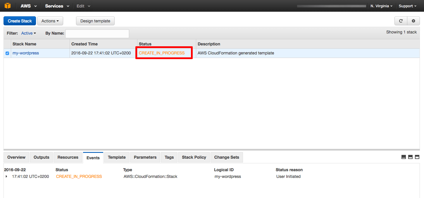 AWS template deployment