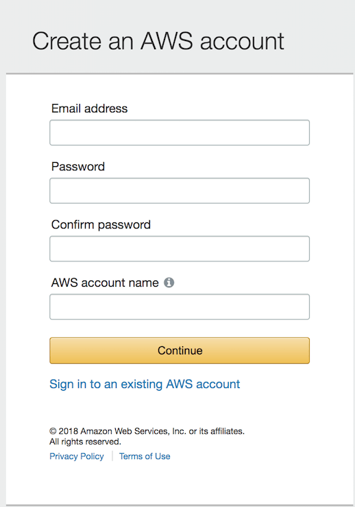 Start the AWS account creation