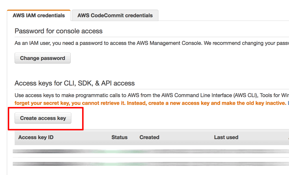 AWS access key creation