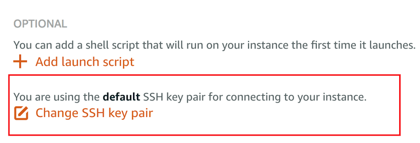Change the SSH Key Pair