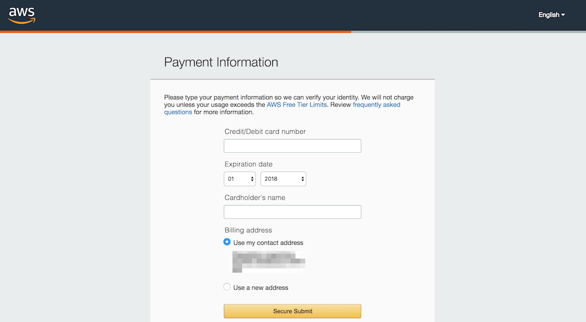 AWS account creation