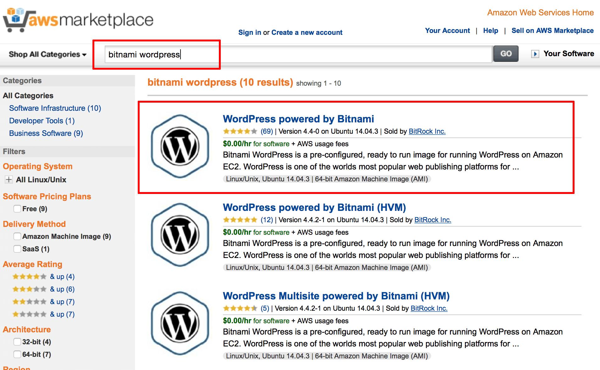 AWS Marketplace launcher