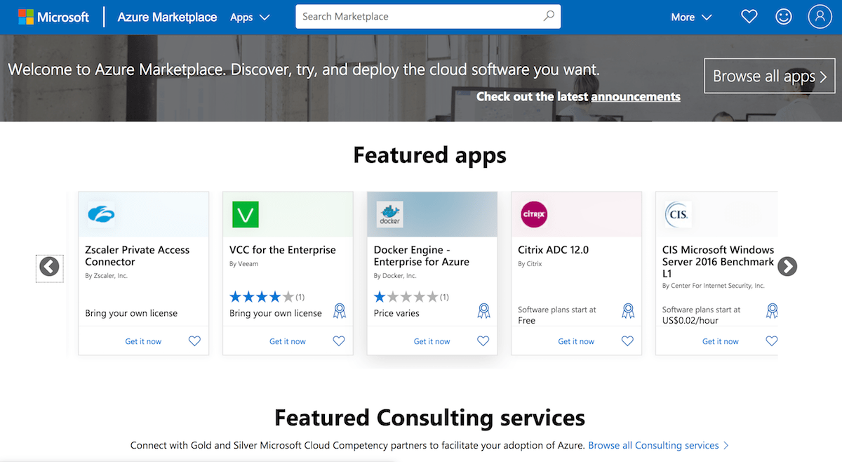Azure Marketplace launcher