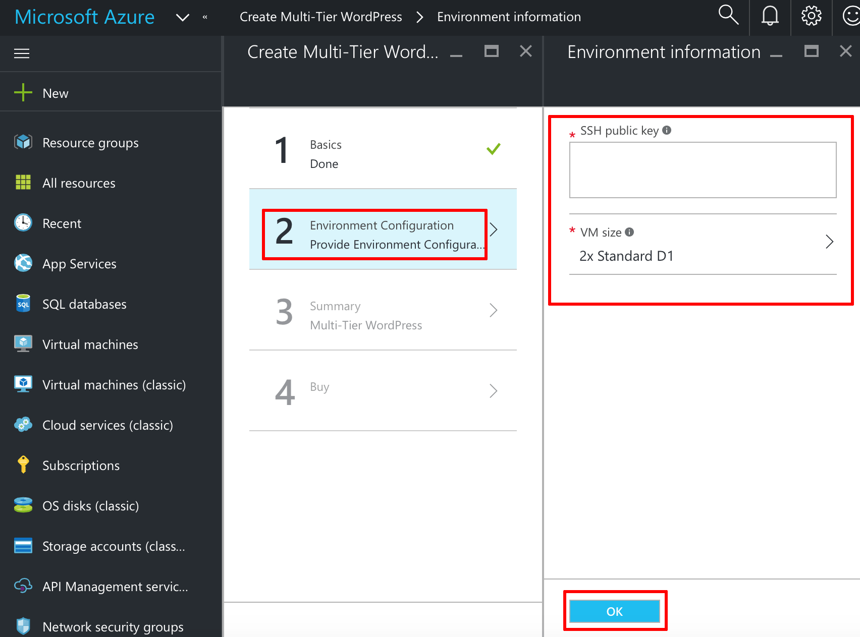 Azure server credentials