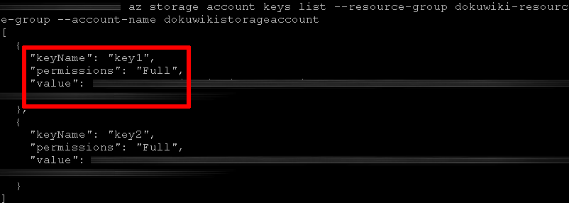 Storage account keys
