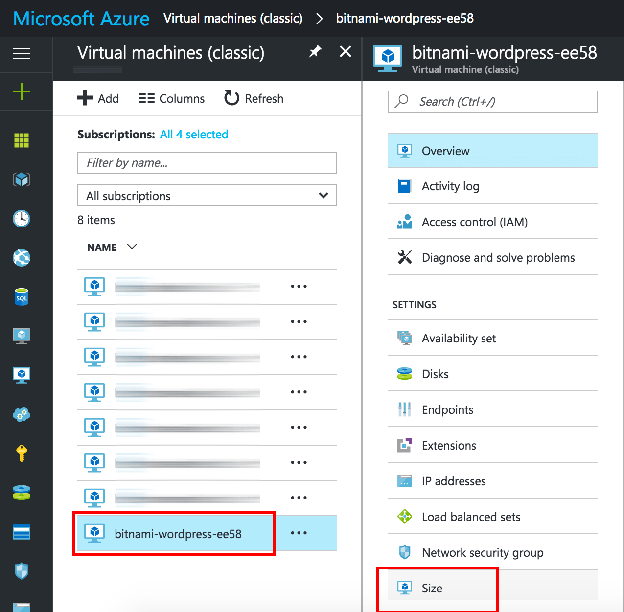 Azure VM size options