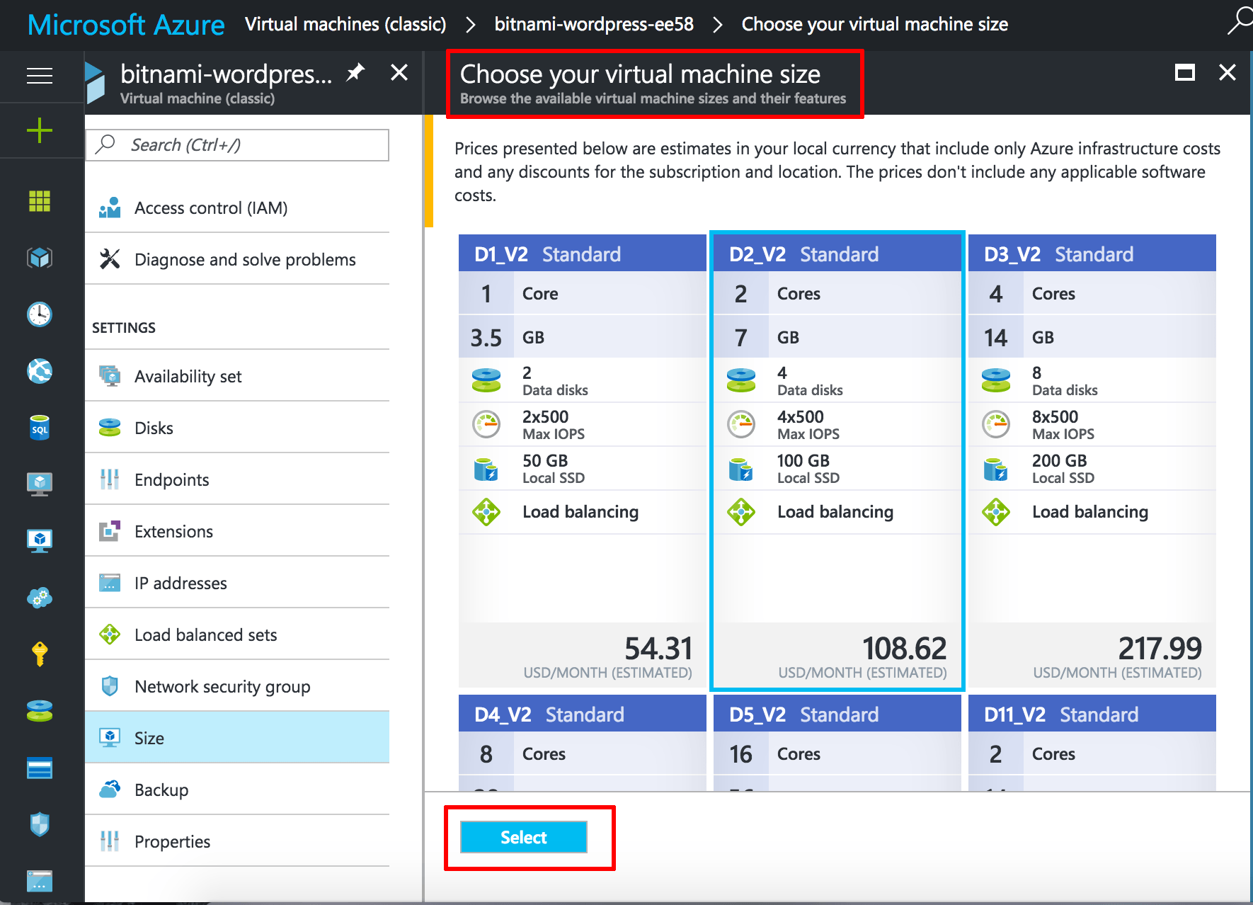 Azure VM size selection