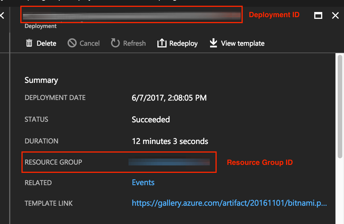 Find deployment and resource group ID