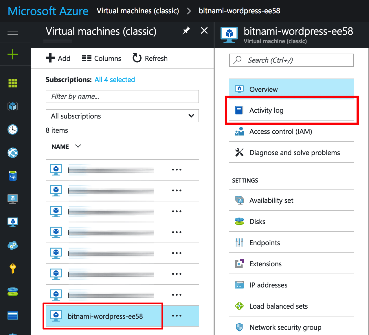 Azure VM activity logs menu
