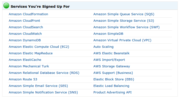 AWS service subscription