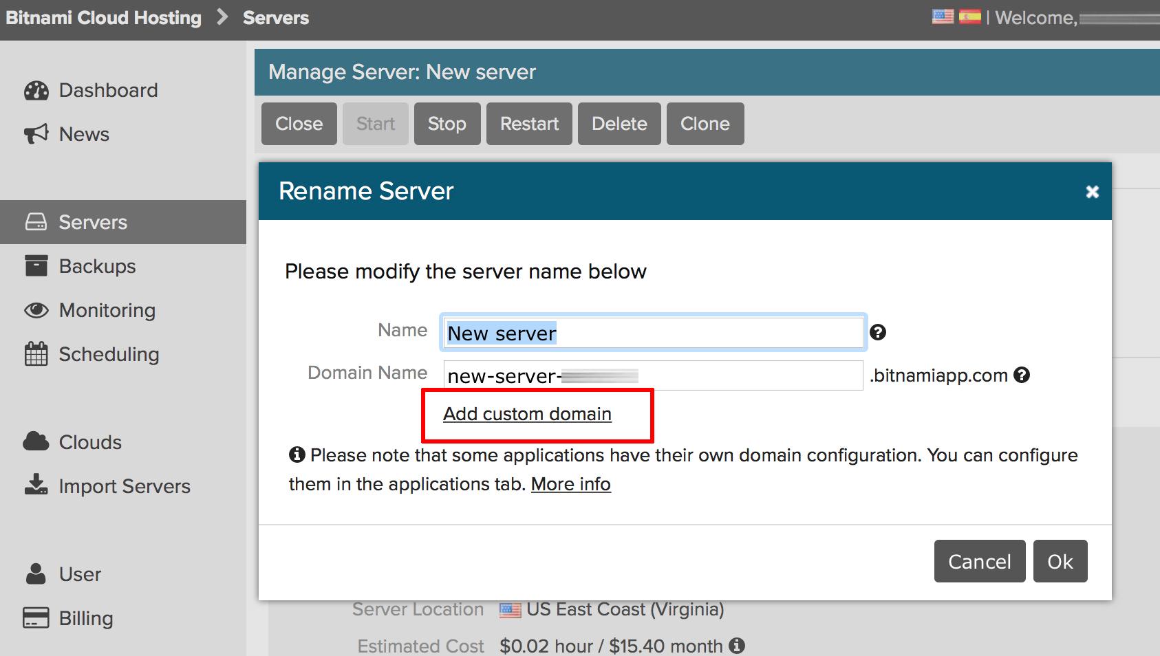 Server domain configuration