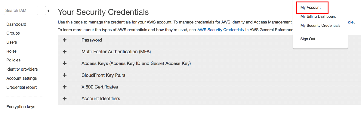 AWS credentials creation
