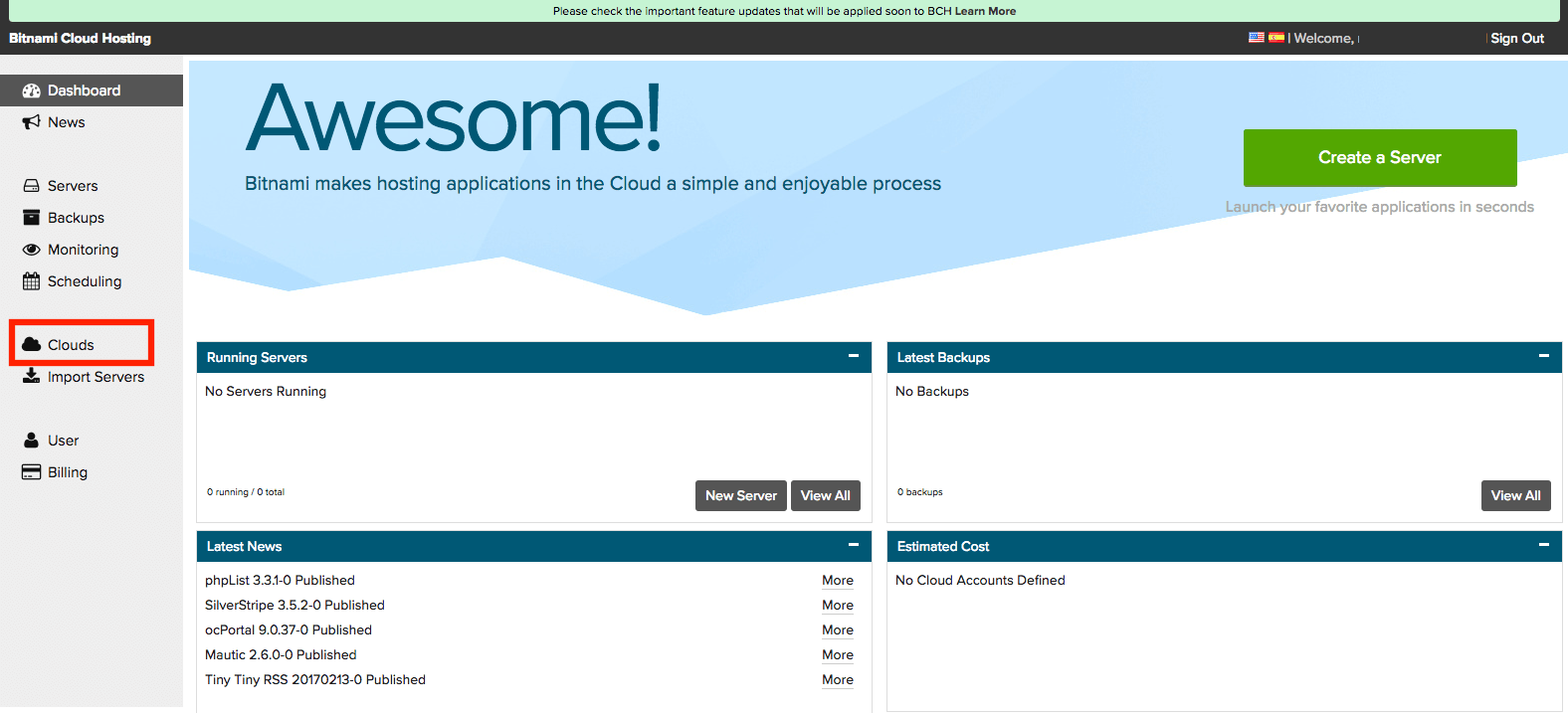Bitnami account connection