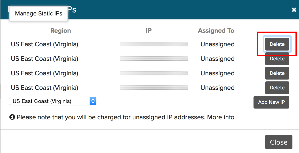 Static IP address management