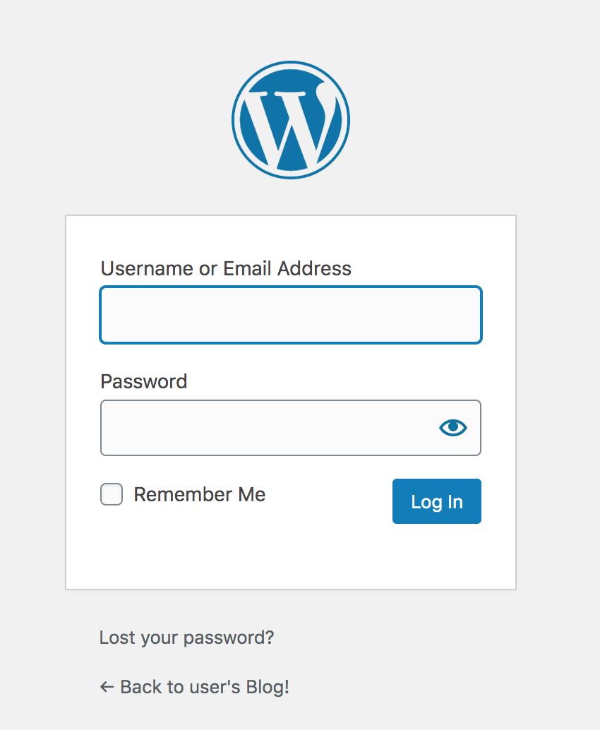 WordPress credentials