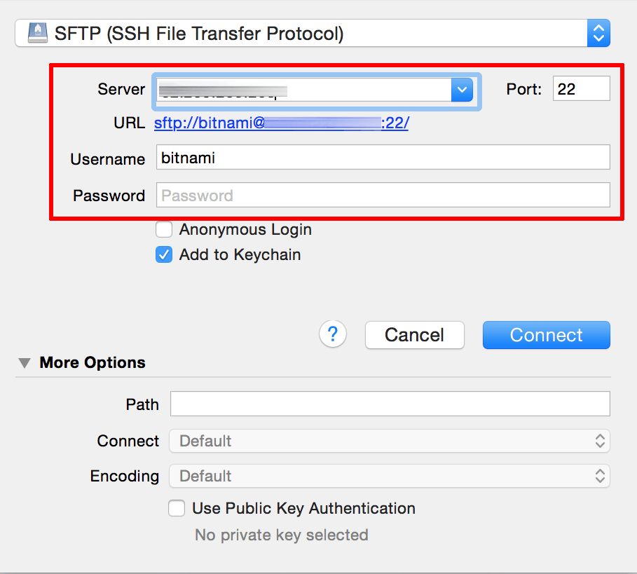 Upload files using SFTP