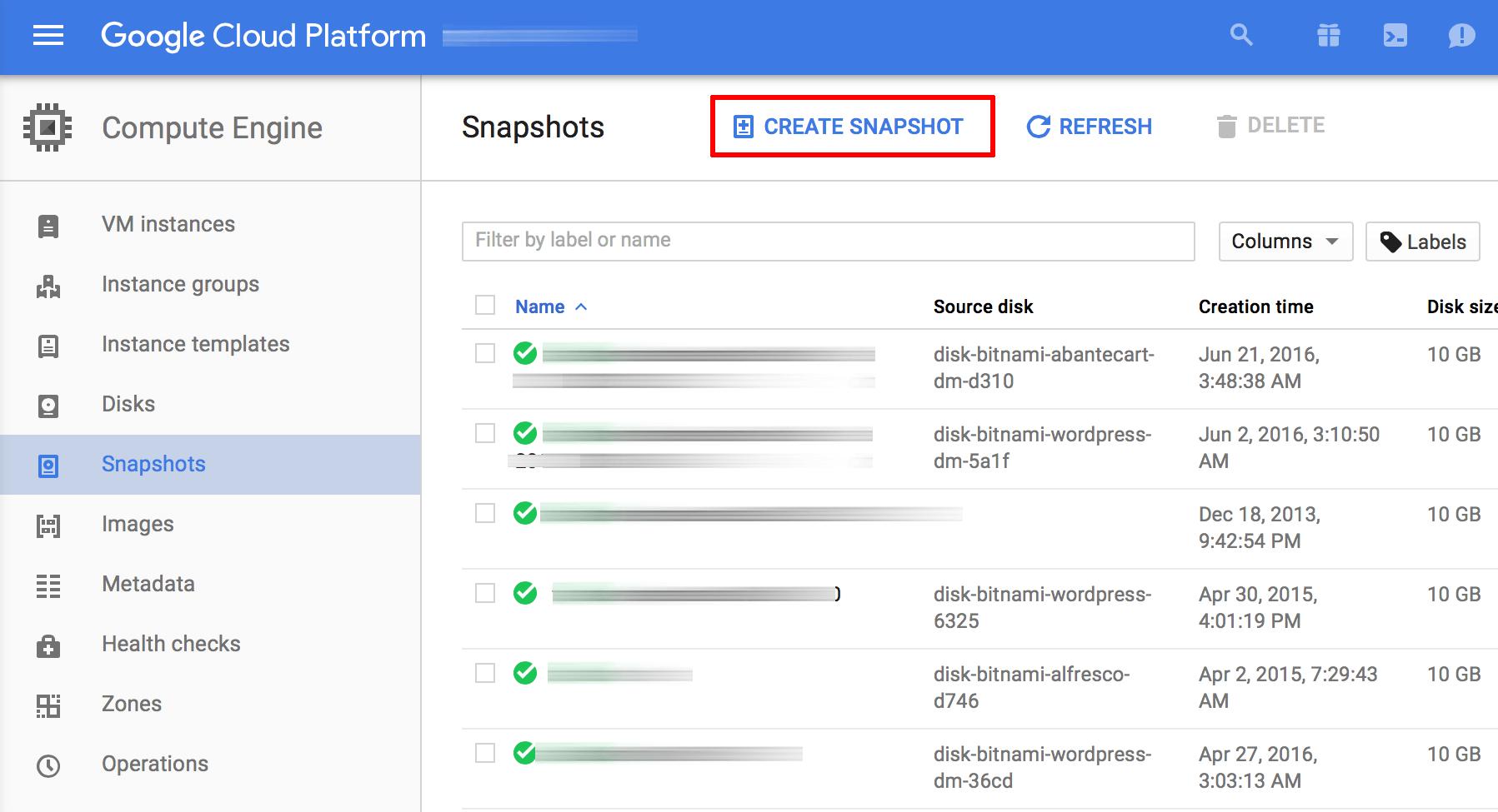 Server snapshot creation