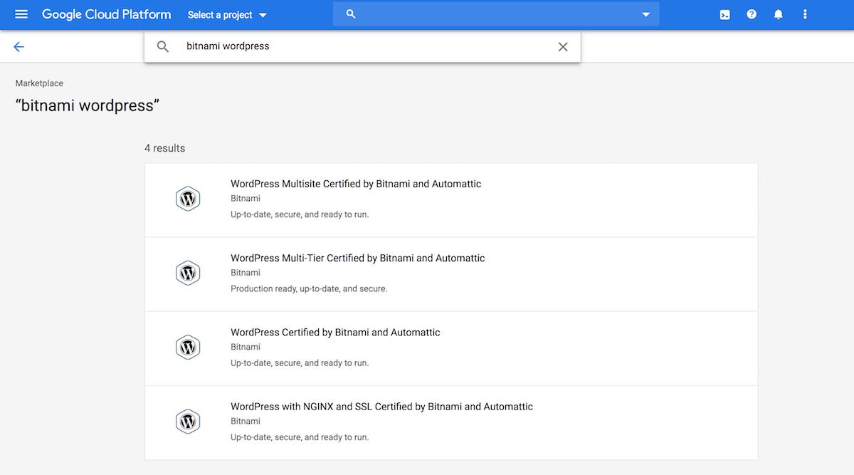 Bitnami WordPress listings on the Google Cloud Marketplace