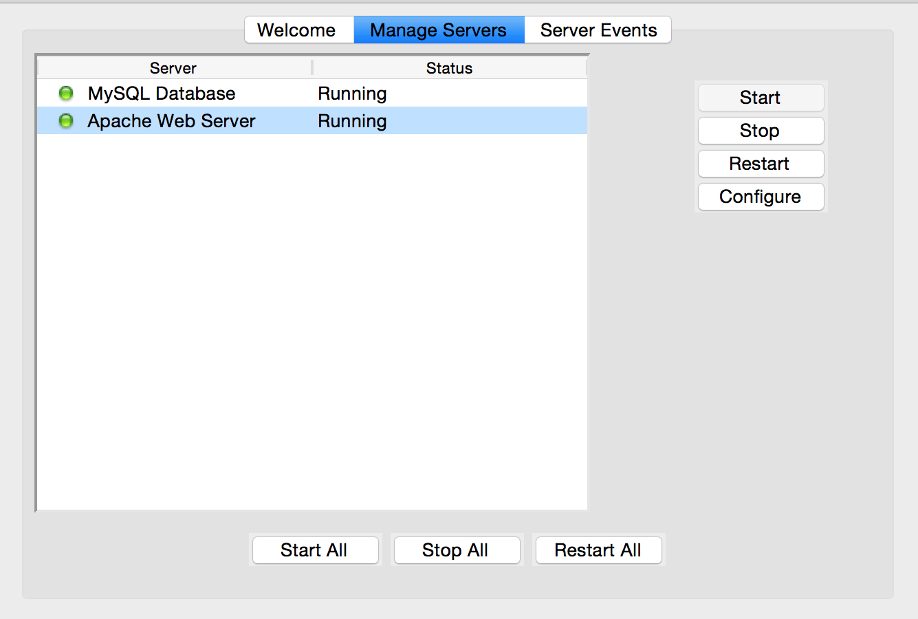 Start or stop services on OS X