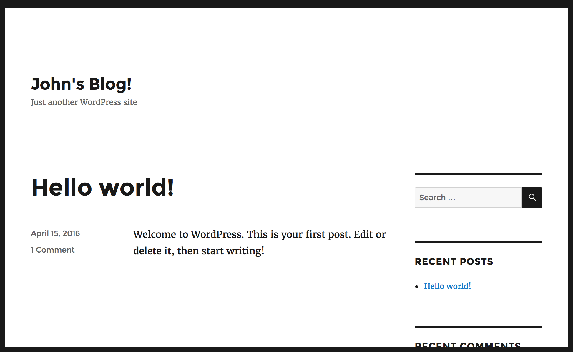 WordPress blog home page