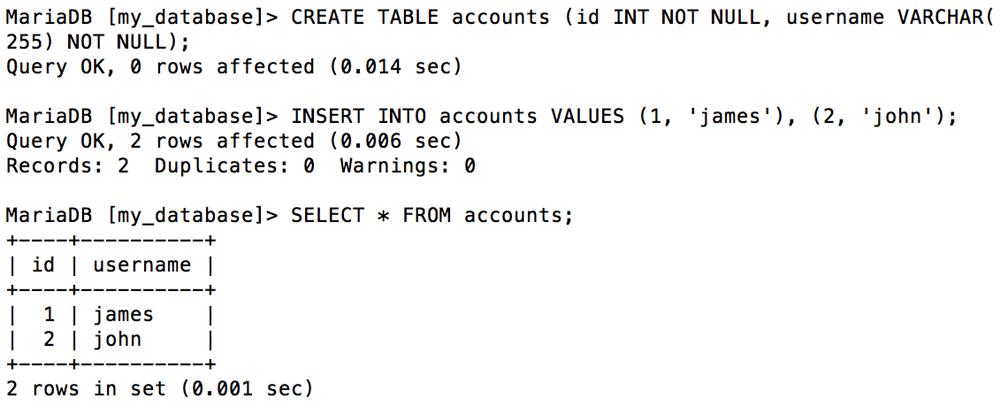 SQL client usage