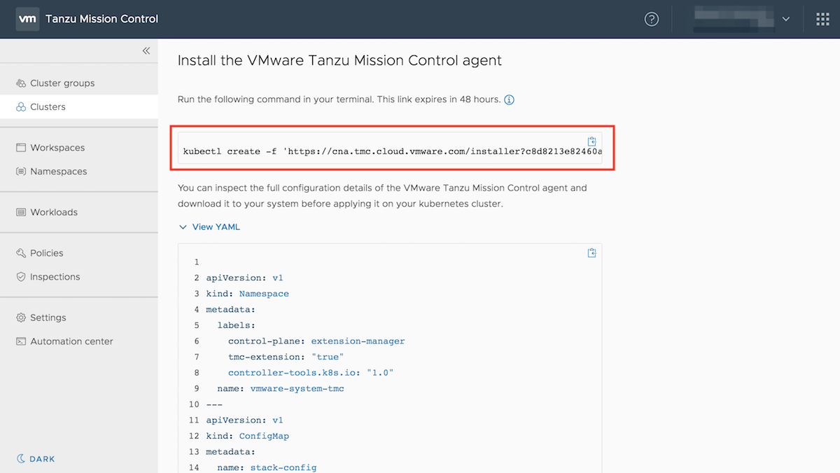 Install the VMware Tanzu Mission Control agent