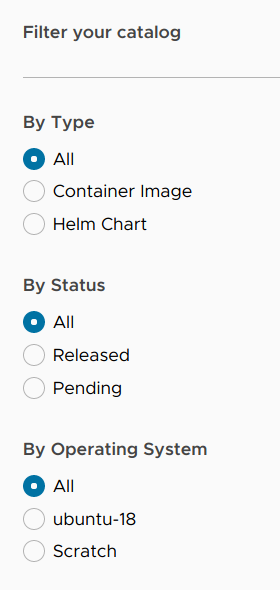 Container catalog filters