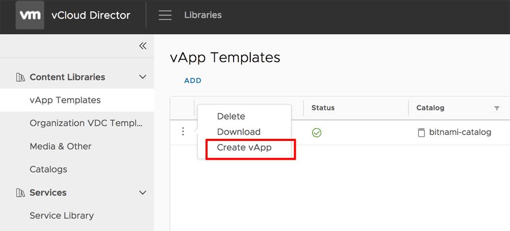 Create vApp in vCloud Director