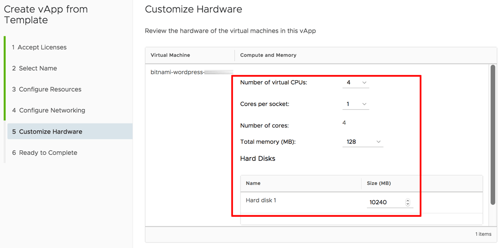Configure hardware for vApp in vCloud Director