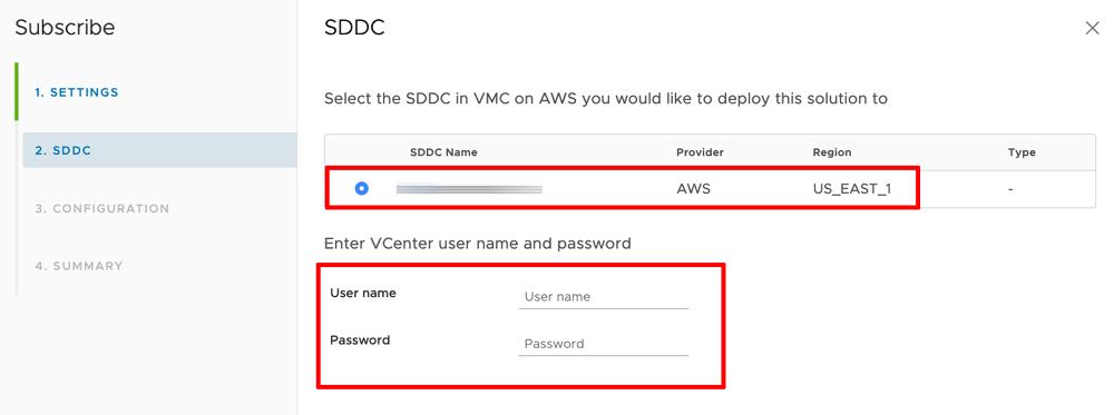 Select SDDC organization