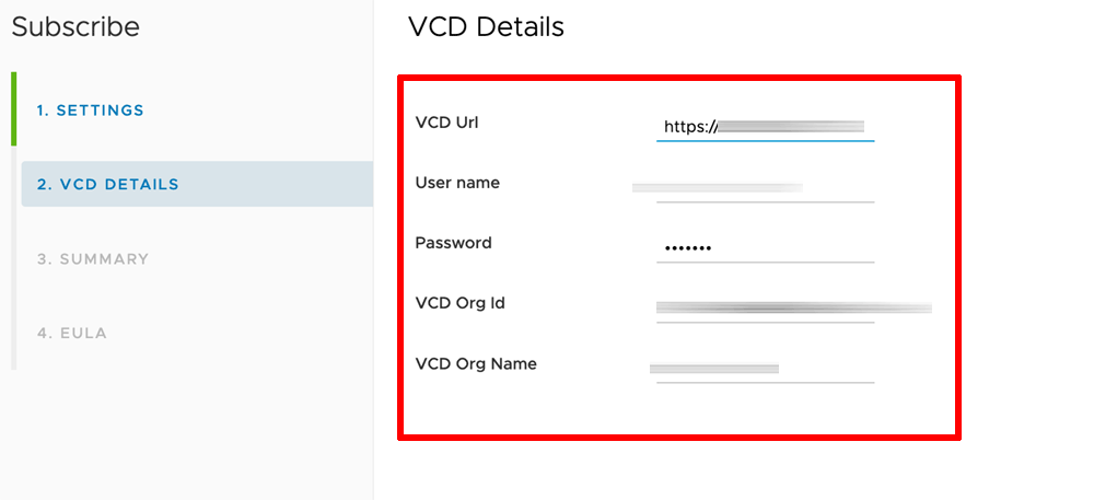 Configure vCD for VMware Marketplace subscription