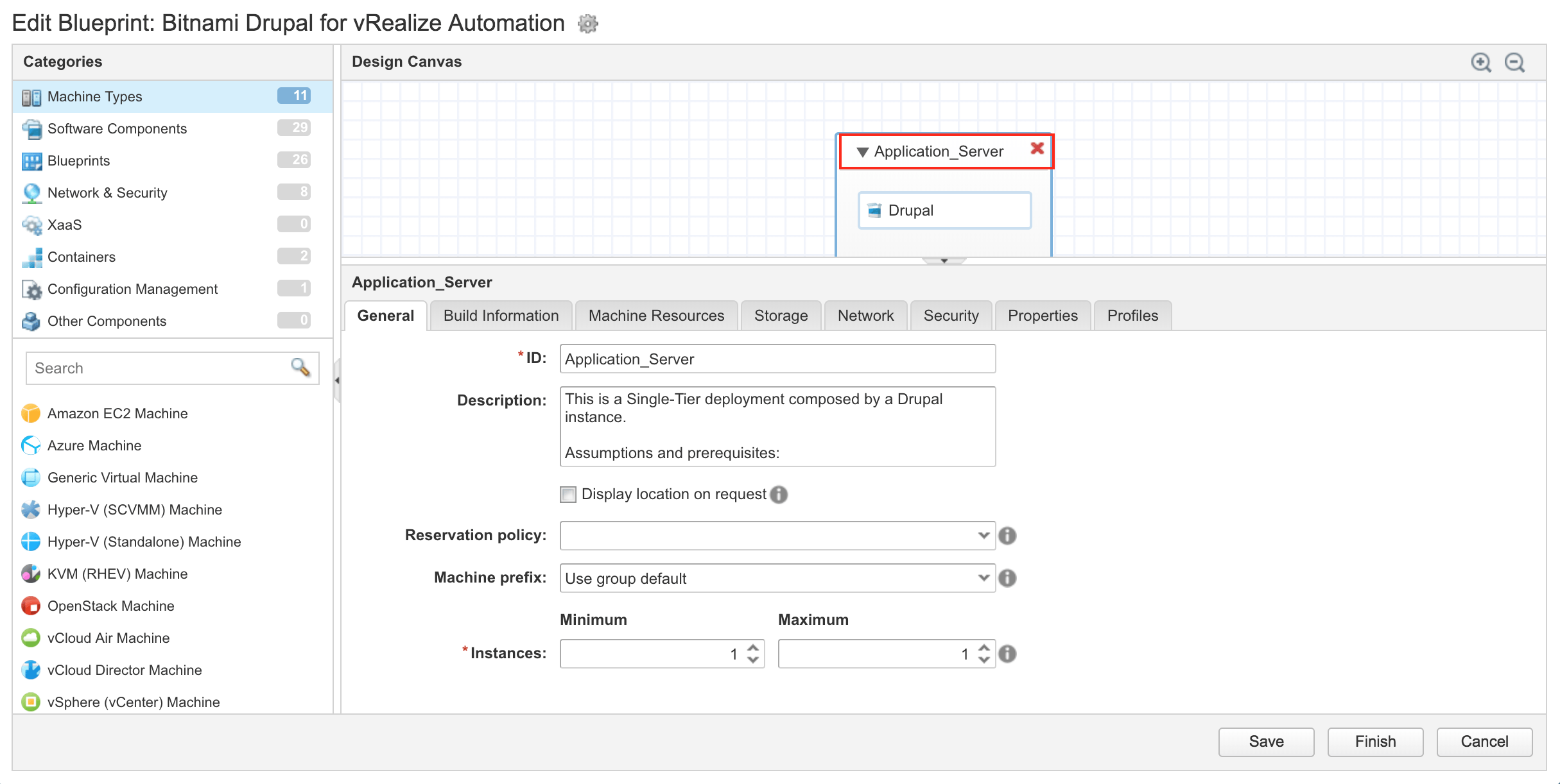 Get started with bitnami blueprints on vmware vrealize automation select the applicationserver section malvernweather