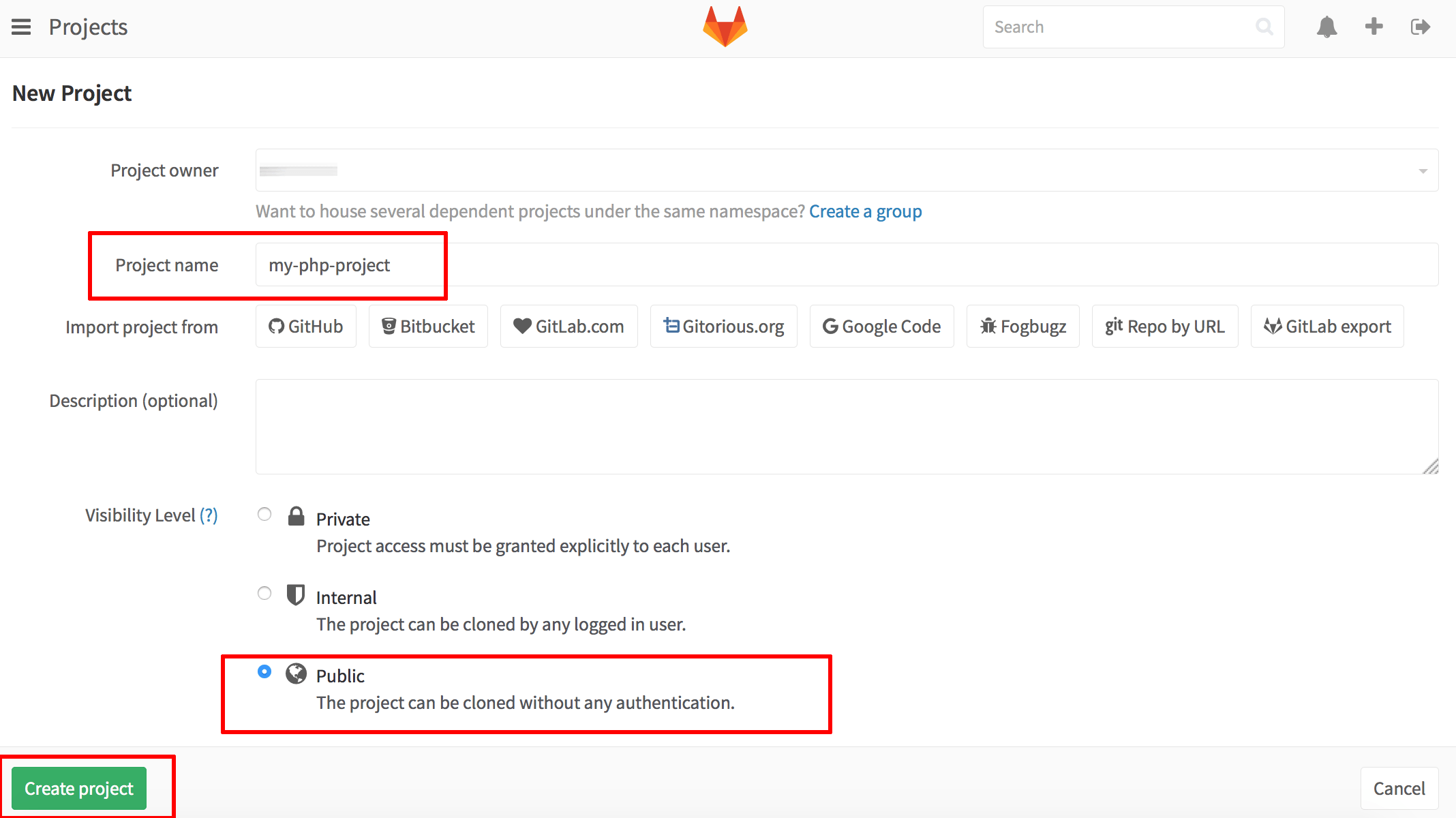 GitLab project visibility