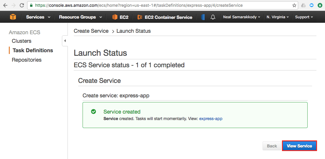 Create service confirmation