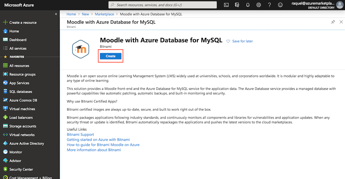 Launching Moodle with Azure Managed DB