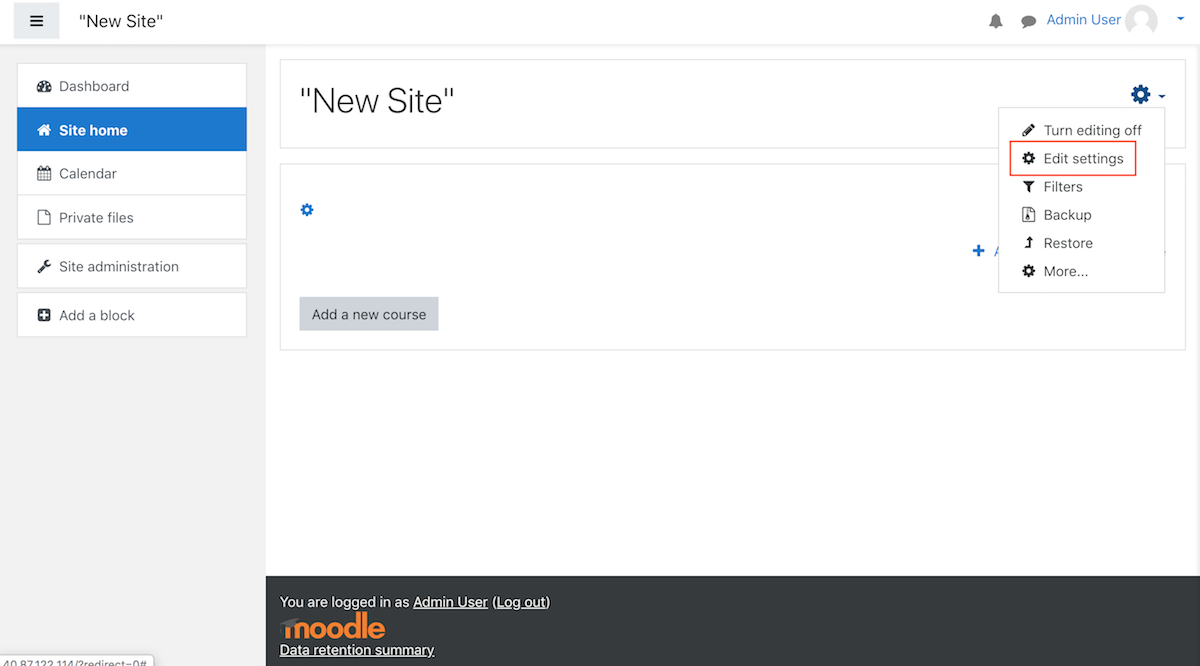 Moodle customise home page