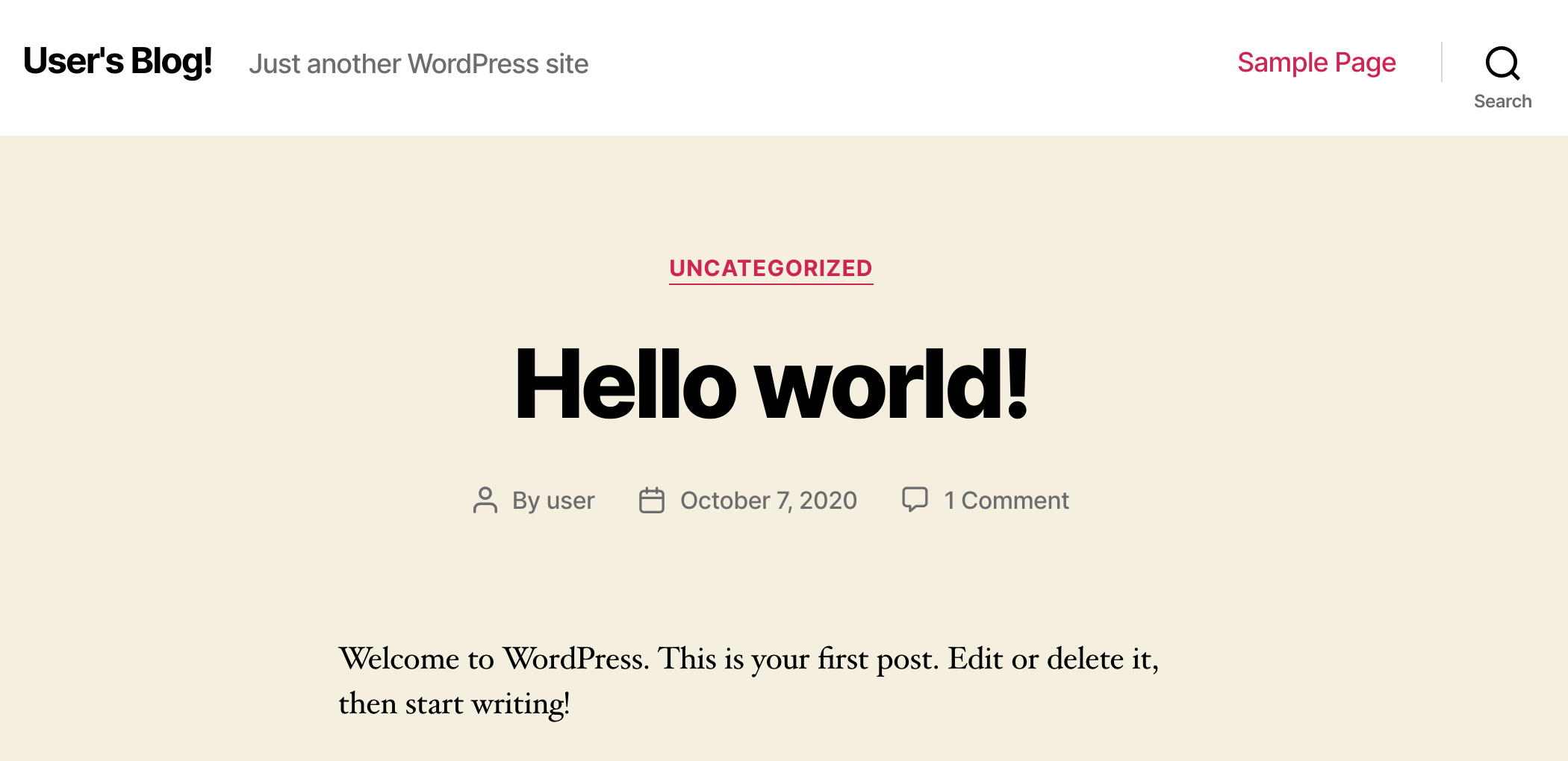 WordPress welcome page